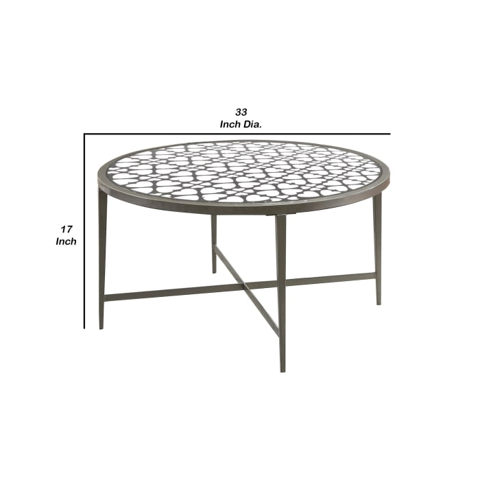 Round Glass Top Coffee Table with X Support Metal Base, Silver