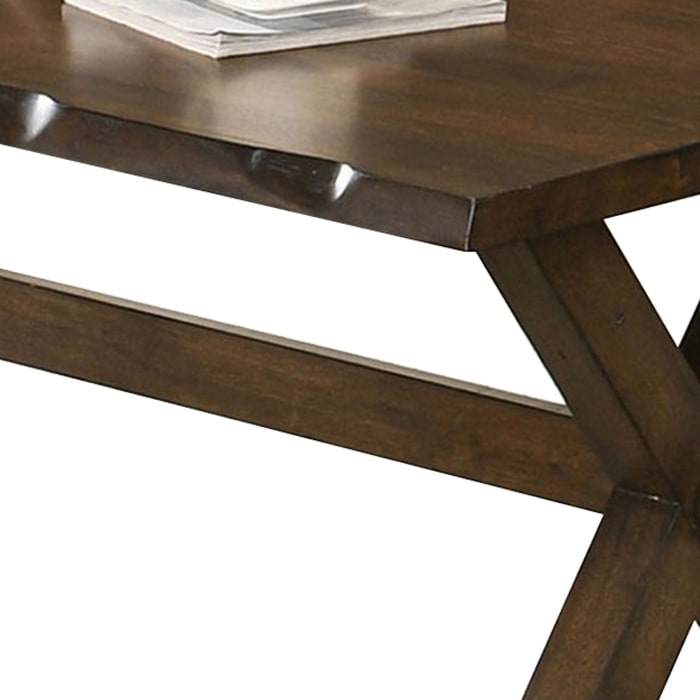 Wooden Coffee Table with Rough Edges and X Shaped Legs, Brown