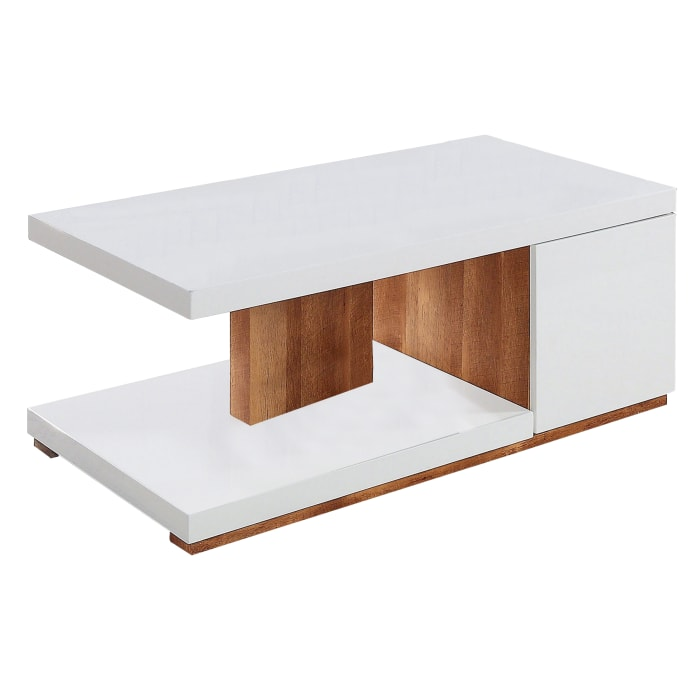 Replicated Wooden Base Coffee Table with 1 Open Shelf, White and Brown