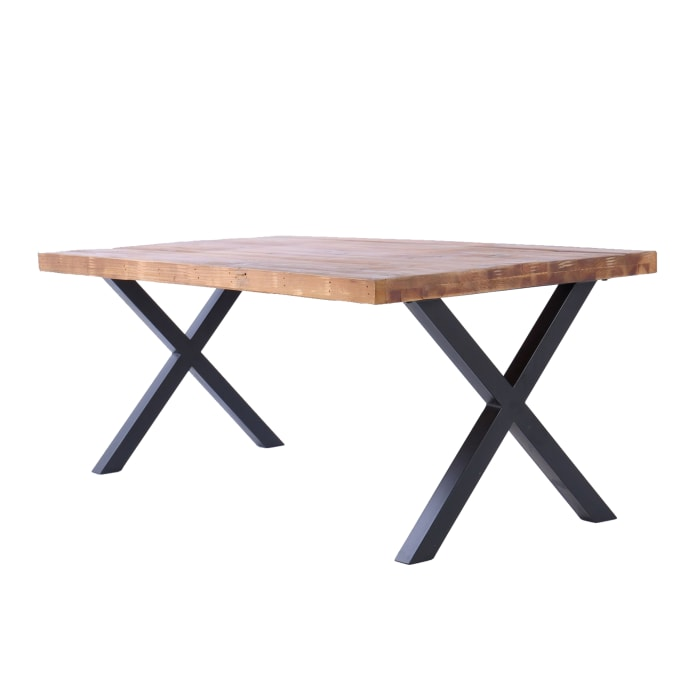 44 Inch X Base Wood and Metal Cocktail Table, Brown and Black