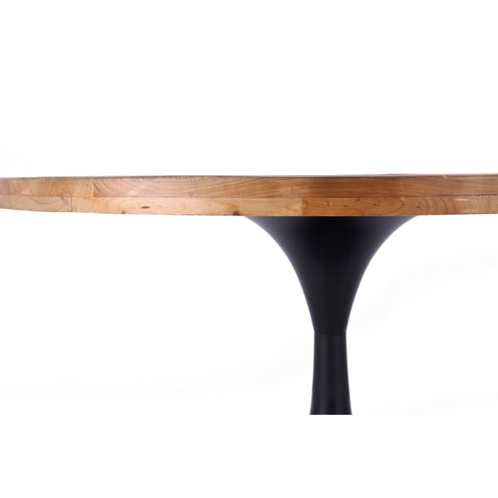 36 Inch Round Wood and Metal Pedestal Coffee Table, Brown and Black