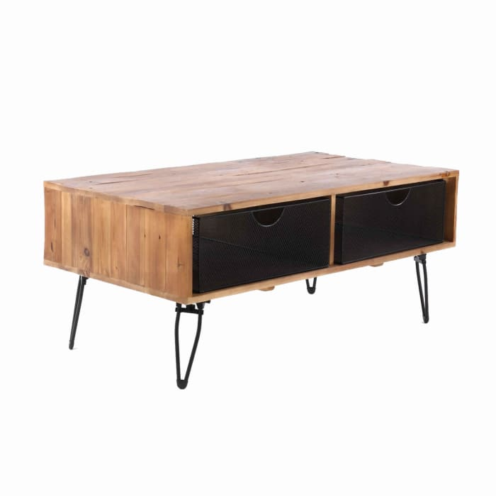 42 Inch Wire Mesh Drawer Foldable Coffee Table, Brown and Black