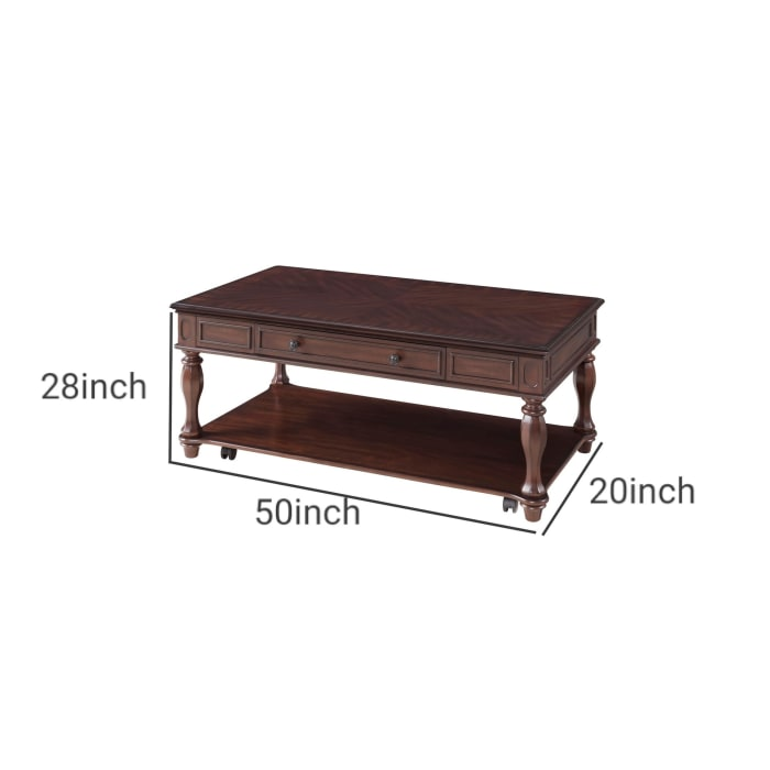20 Inch 1 Drawer Coffee Table with Bottom Shelf, Brown
