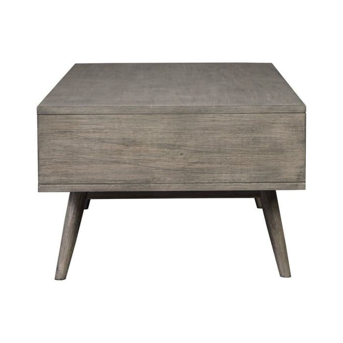 Mid Century Rectangular Cocktail Table with Open Shelf, Gray