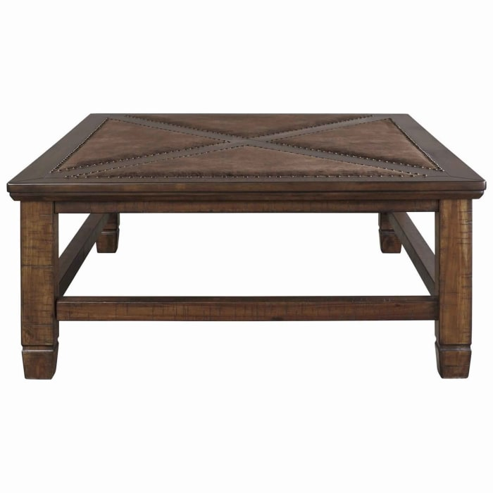 Rectangular Cocktail Table with Nailhead Accents, Brown