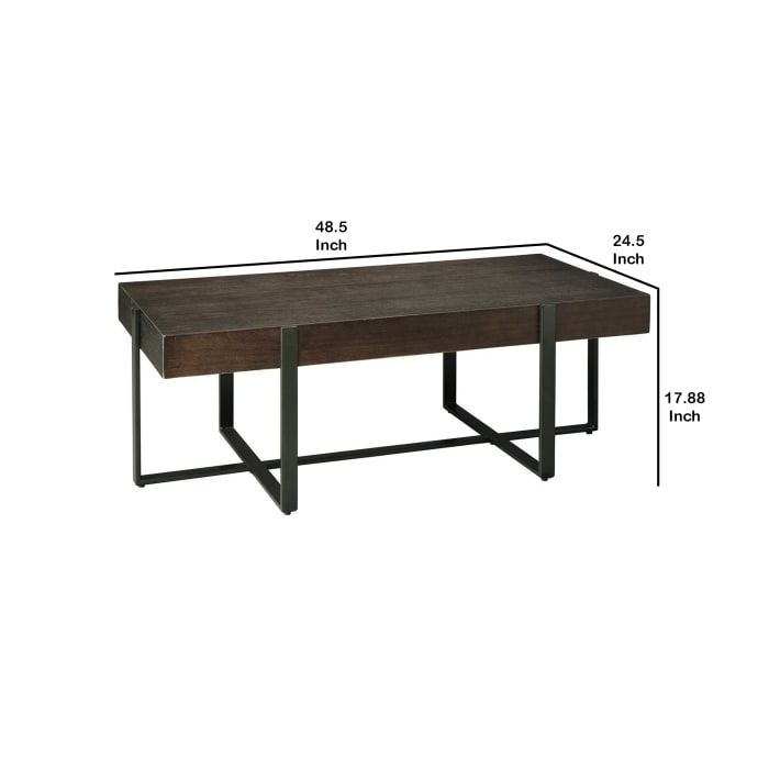 Rectangular Wooden Top Cocktail Table with Metal Base, Brown and Black