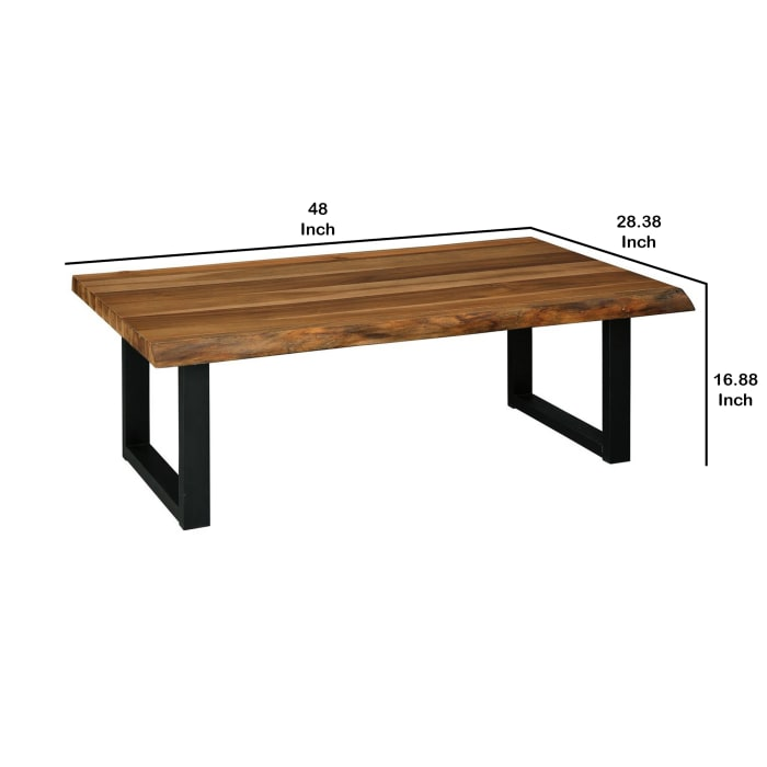 Rectangular Wooden Cocktail Table with Sled Legs, Brown and Black