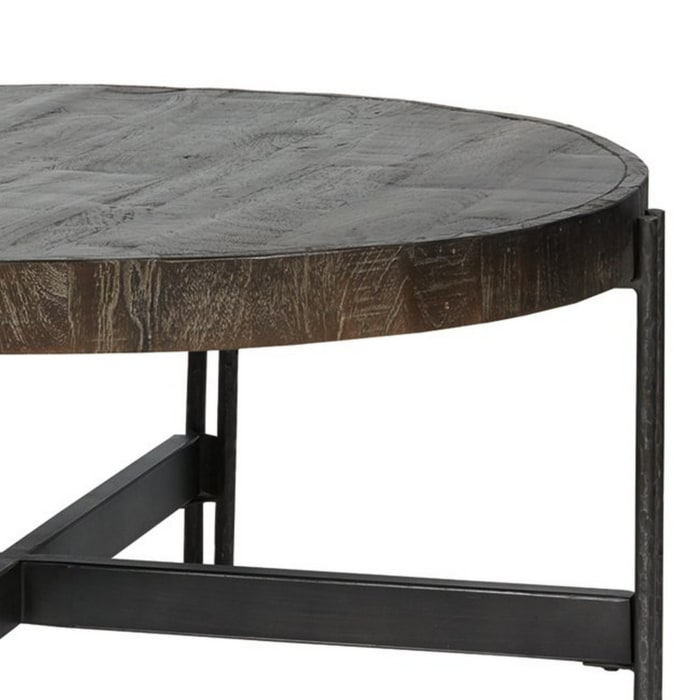 Round Cocktail Table with Tubular Metal Base, Brown and Gray