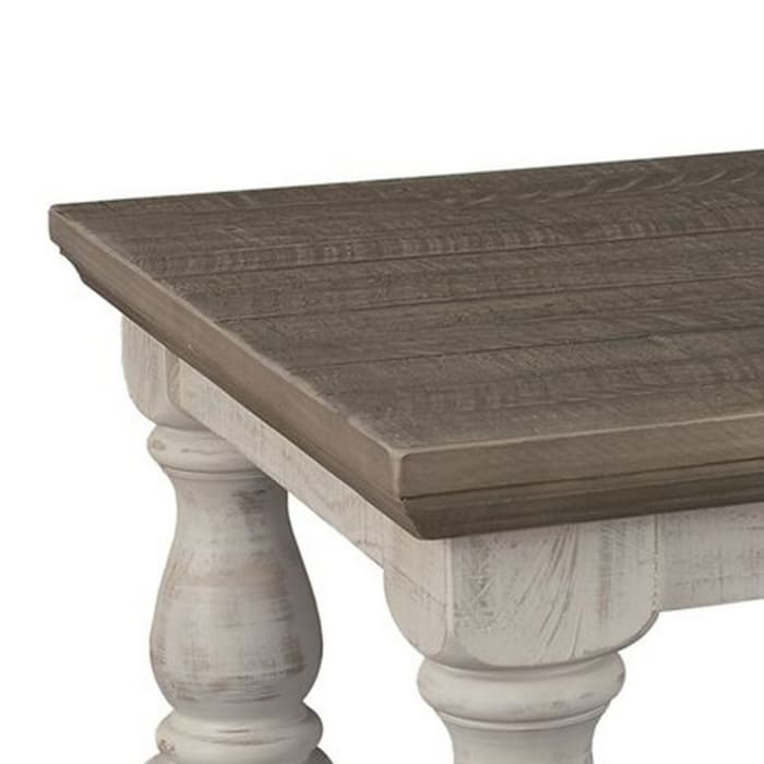 Rectangular Wooden Cocktail Table with Trestle Base,Brown and Antique White