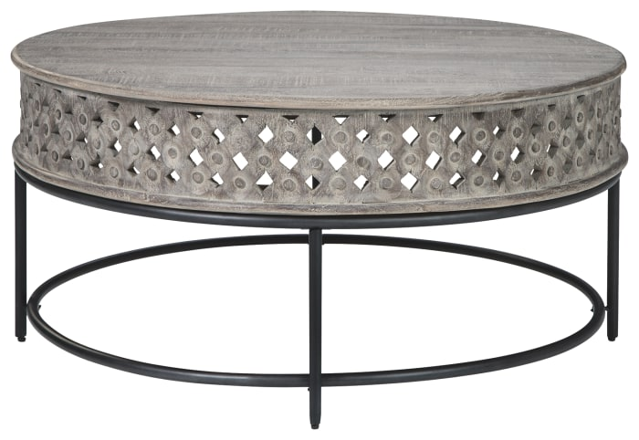 Wooden Round Cocktail Table with Hand Carved Lattice Design,Weathered Gray