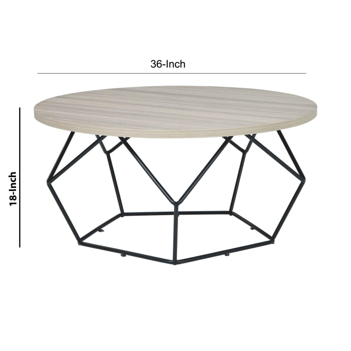 Wooden Top Round Cocktail Table with Open Geometric Base, Gray and Black
