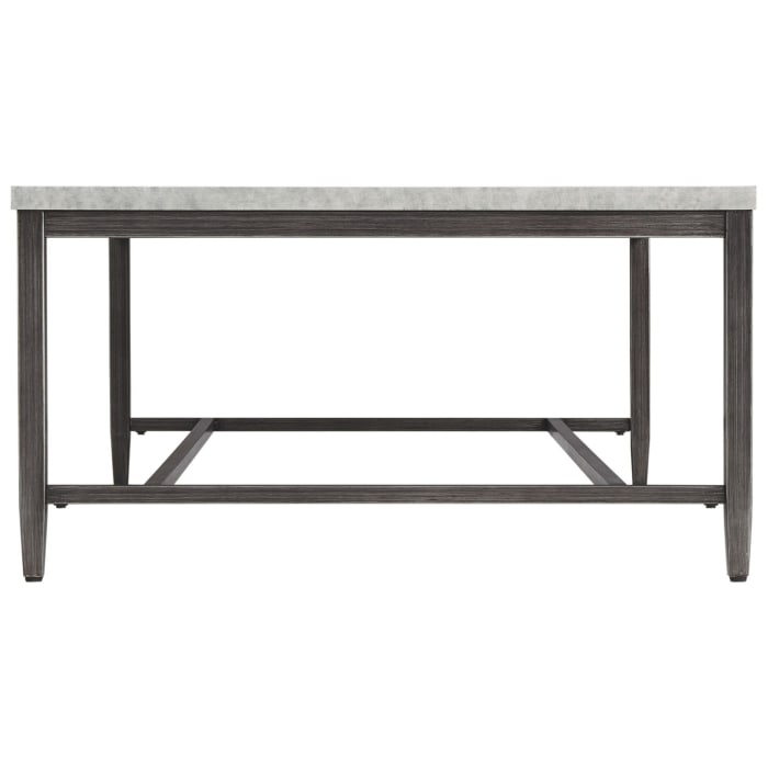 Rectangular Shape Cocktail Table with Faux Concrete Top, Gray and Black