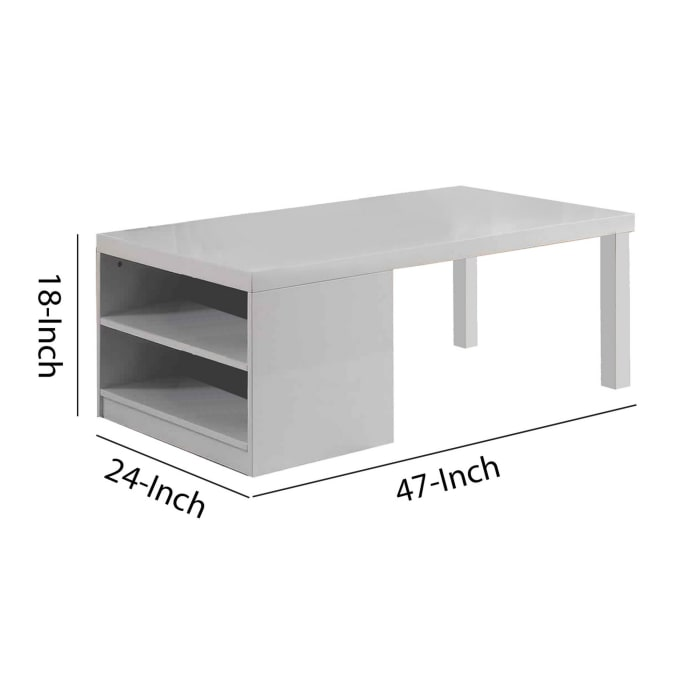 Wood and Metal Frame Coffee Table with Open Shelves, White and Chrome