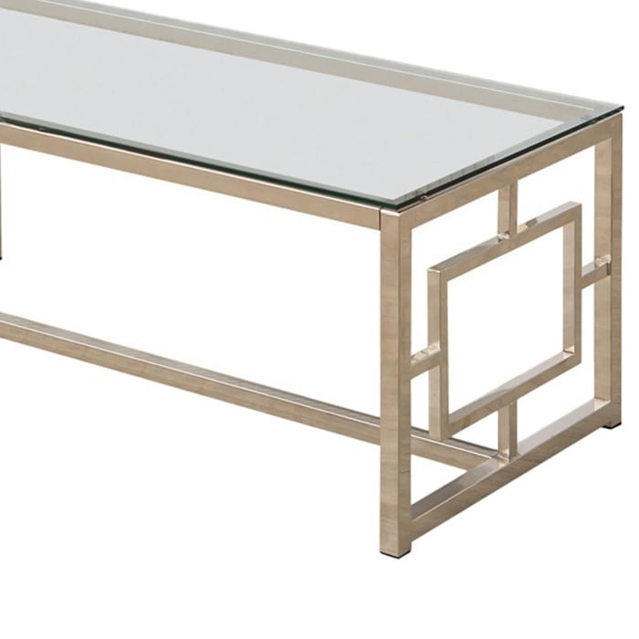 Tempered Glass Top Coffee Table with Lattice Cut Outs, Silver and Clear