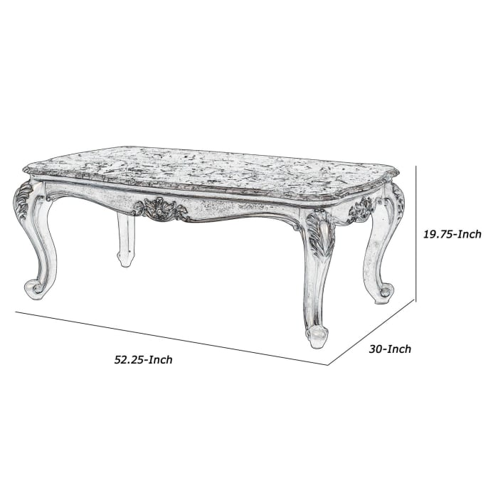 Wooden Cocktail Table with Marble Top and Carved Details, Gray
