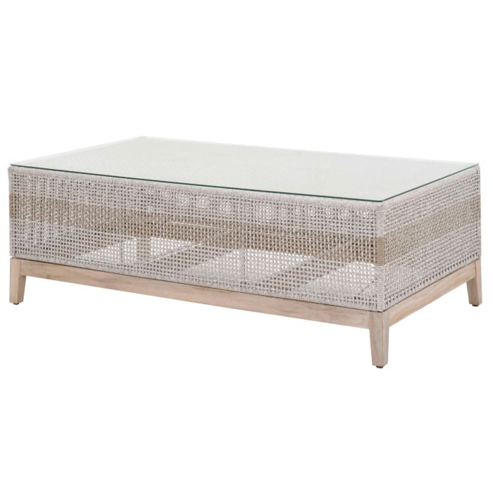 Interwoven Rope Wooden Coffee Table with Glass Top, Gray and Brown