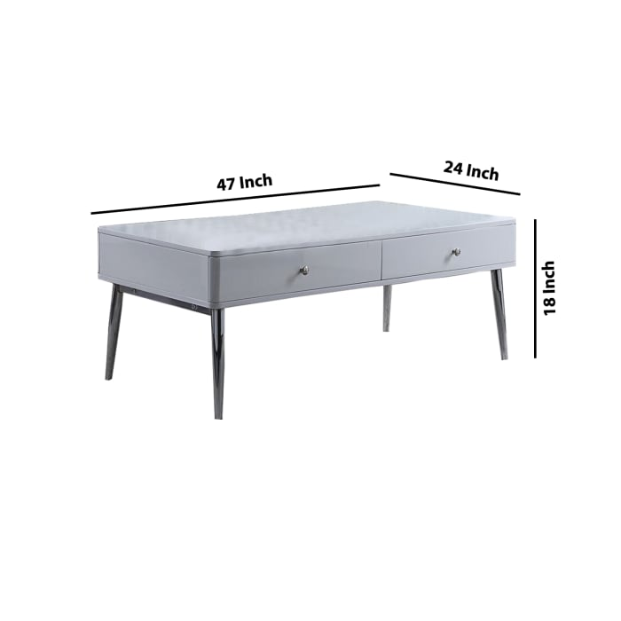 2 Drawer Contemporary Wooden Coffee Table with Splayed Chrome Legs, White