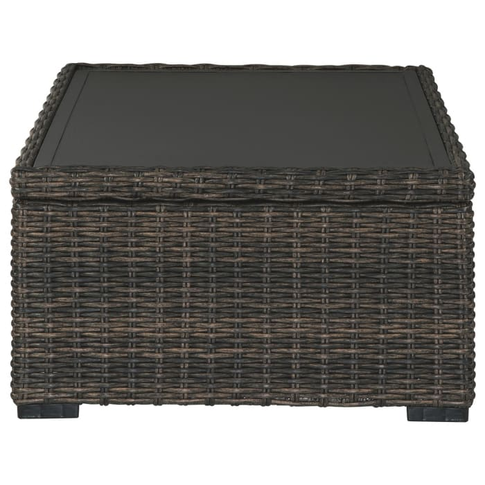 Wicker Woven Aluminum Frame Cocktail Table with Open Shelf, Brown and Black