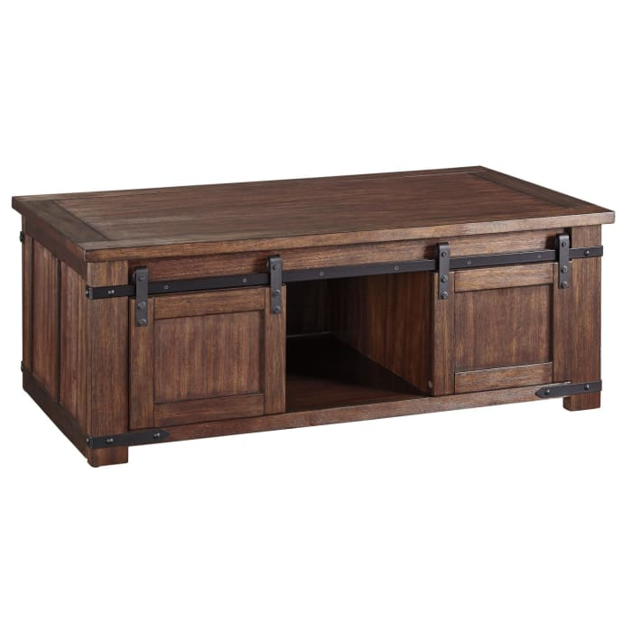 Rectangular Wooden Cocktail Table with 2 Barn Sliding Door Cabinets, Brown