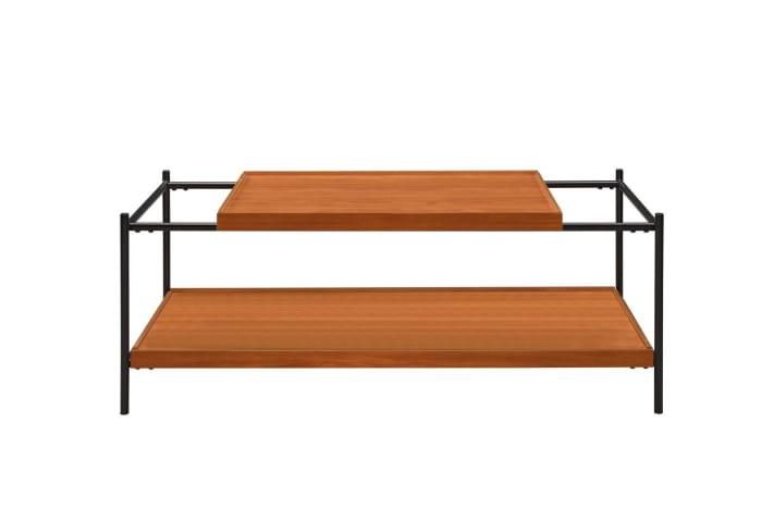 Rectangular Wooden Top Metal Frame Coffee Table, Oak Brown and Black