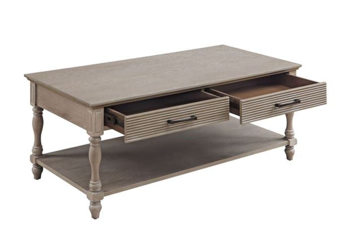 Wooden Coffee Table with 2 Drawers and Molded Design, Antique White