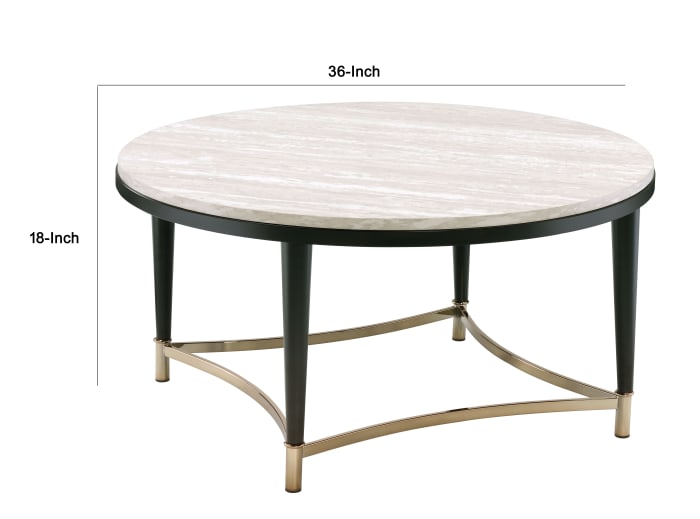 Circular Tabletop Coffee Table with Metal Apron Trims, Black and Brown