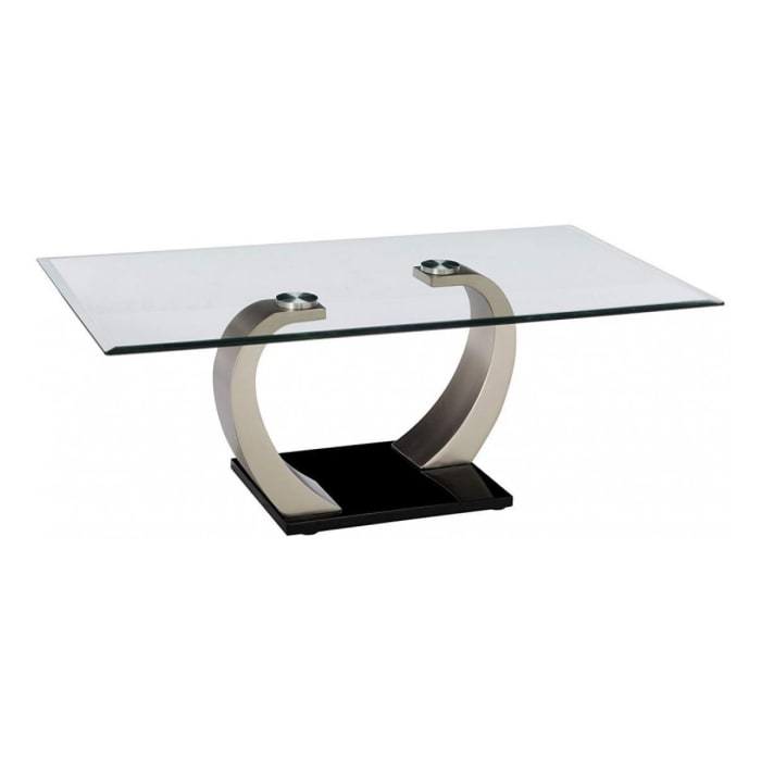 Rectangular Glass Top Coffee Table with Pedestal Base,Black and Silver