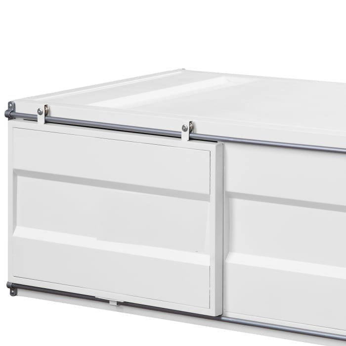 Industrial Style Metal Cargo Coffee Table with Openable Door, White