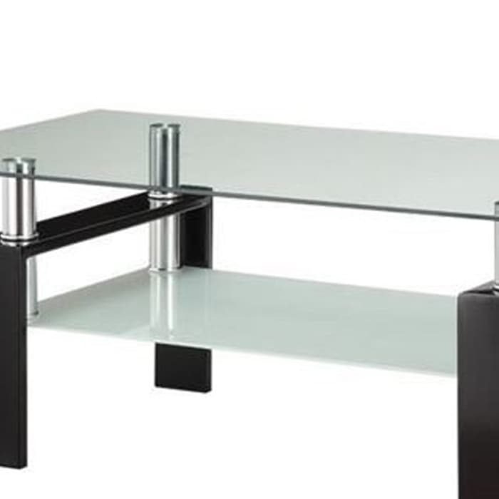 Glass Top Coffee Table with Metal Base and 1 Bottom Shelf, Clear and Black