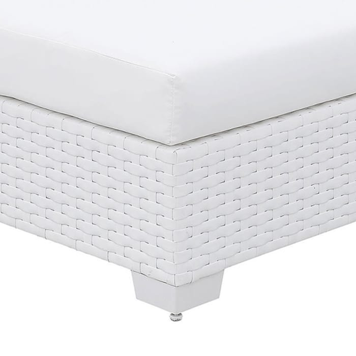 Wicker Aluminum Framed Bench with Fabric Cushion Seat, White