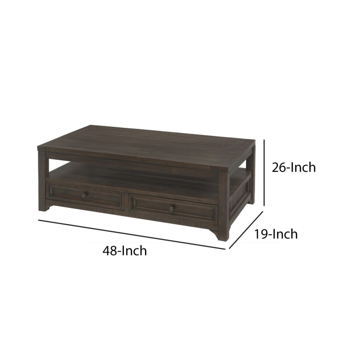 Rectangular Wooden Lift Top Coffee Table with 2 Drawers, Brown