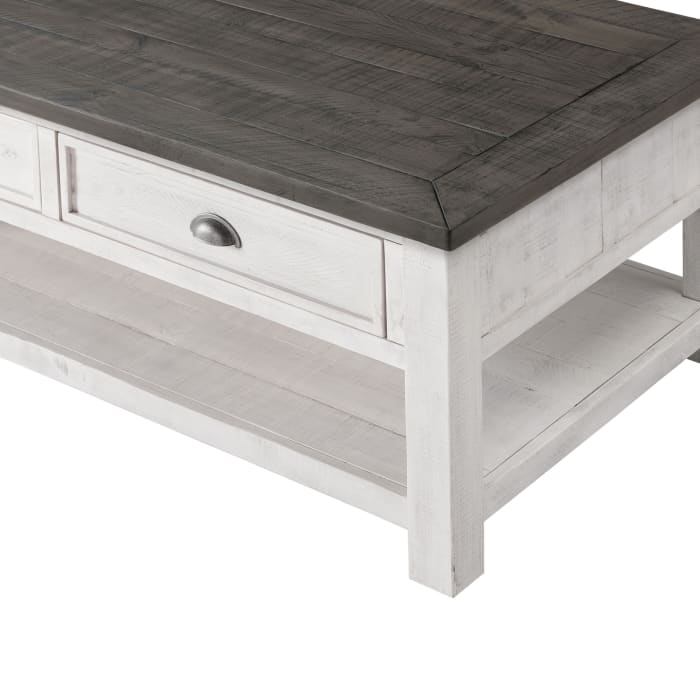 Coastal Rectangular Wooden Coffee Table with 2 Drawers, White and Gray