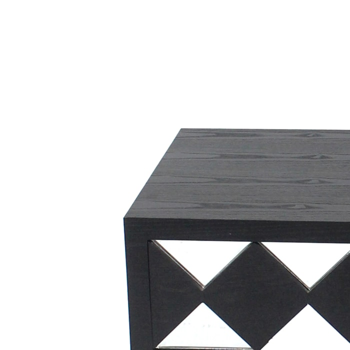 Wooden Coffee Table with 3 Drawers and X Shape Base, Black and Gold