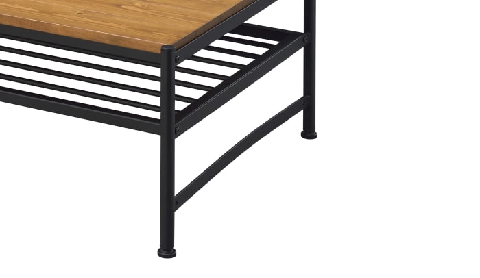 Metal and Wood Coffee Table with Slatted Bottom Shelf,Brown and Black