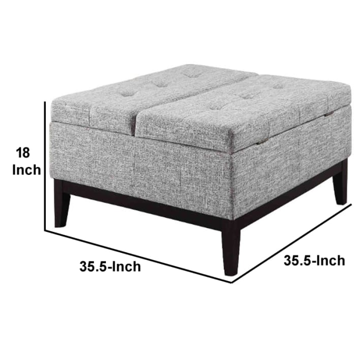 Fabric Upholstered Tufted Square Storage Coffee Table, Black and Gray