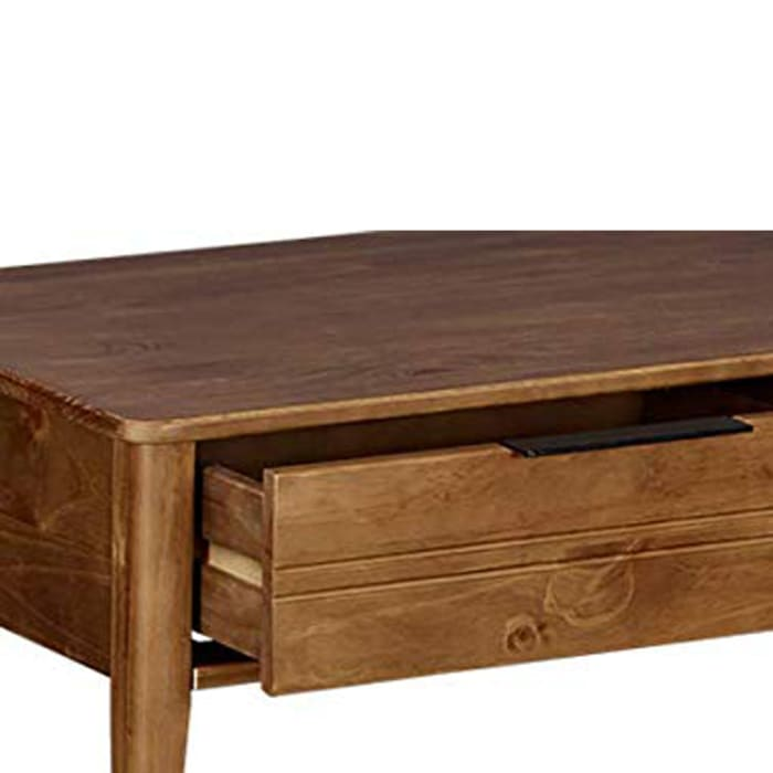 Mid Century Modern Style Wooden Coffee Table with One Drawer, Brown