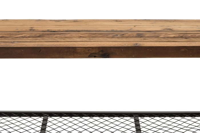 44 Inch Wood and Metal Coffee Table with Mesh Shelf, Brown and Black