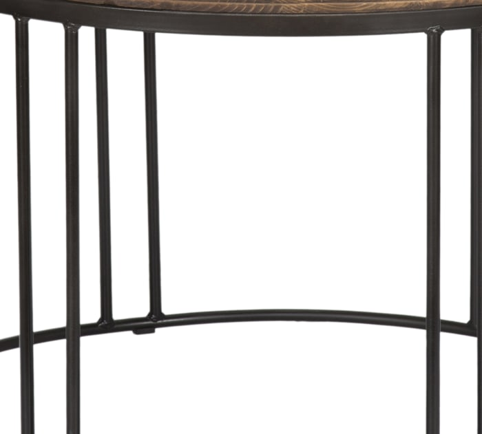 Iron Framed Round Coffee Table with Wooden Top, Brown and Black