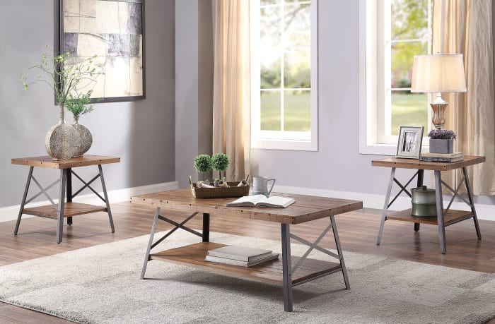 Wooden Coffee Table with X Crossed Metal Sides and Open Shelf, Brown and Black