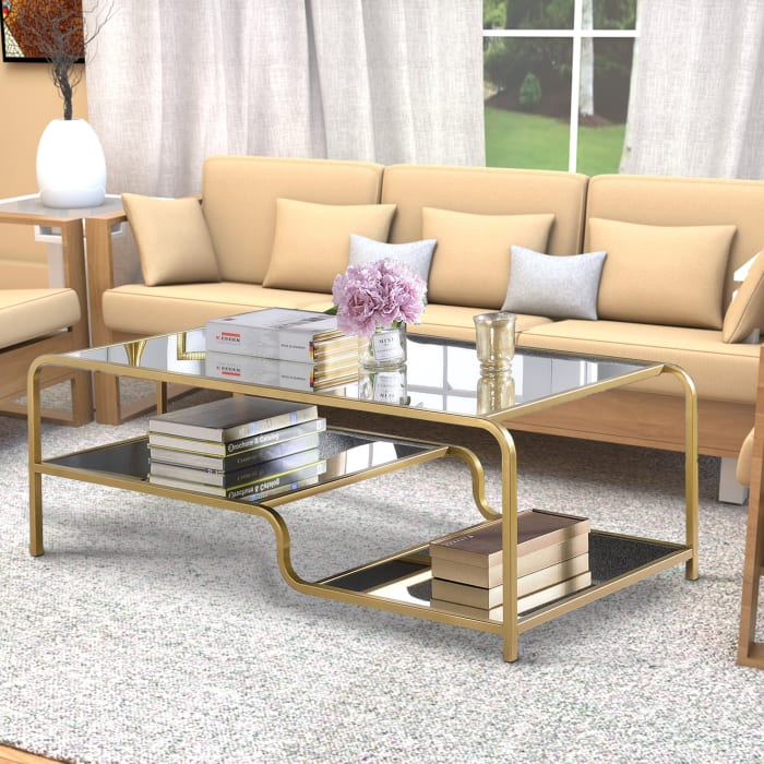 Metal Frame Mirrored Coffee Table with Tiered Shelves, Gold and Silver
