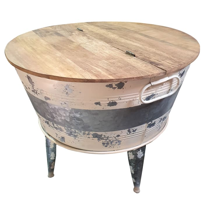 Distressed Metal Frame Cocktail Table with Hinged Lift Top Storage, Brown and Gray