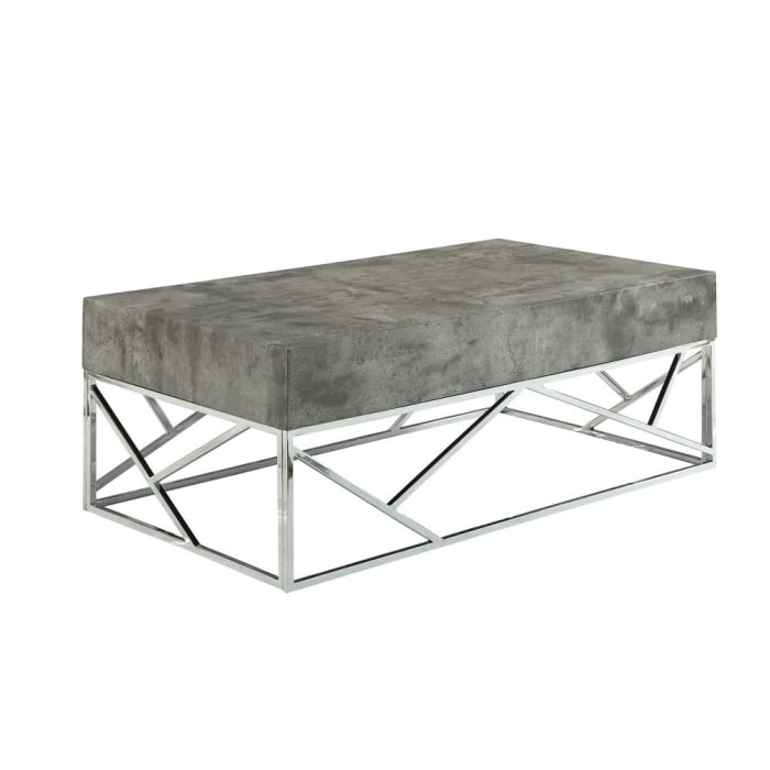 Faux Marble Coffee Table with Rectangular Top and Designer Metal Base, Silver and Gray