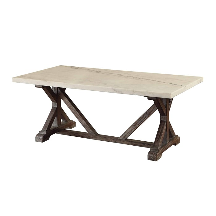 Marble Rectangle Shaped Coffee Table with Wooden Trestle Base, White and Espresso Brown