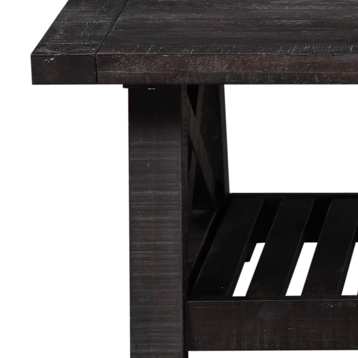 Pine Wood Coffee Table with Exposed Hardware, Brown