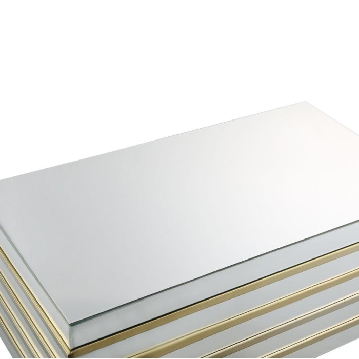 Rectangular Metal and Mirror Coffee Table, Silver and Gold
