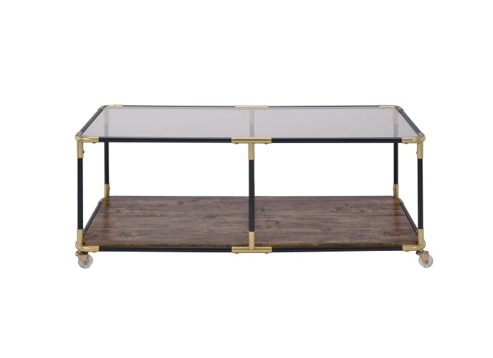 Metal Frame Coffee Table with Glass Top and Wooden Bottom Shelf, Multicolor