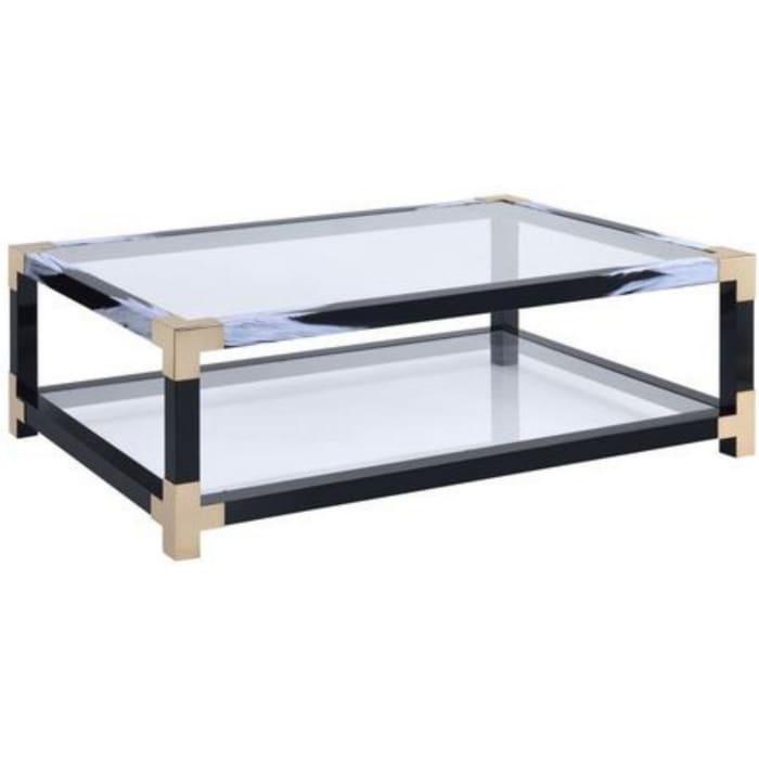 34 Inch Glass Top Rectangular Metal Coffee Table, Black