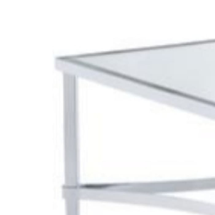 18 Inch Metal Coffee Table with Mirrored Glass Top, Silver