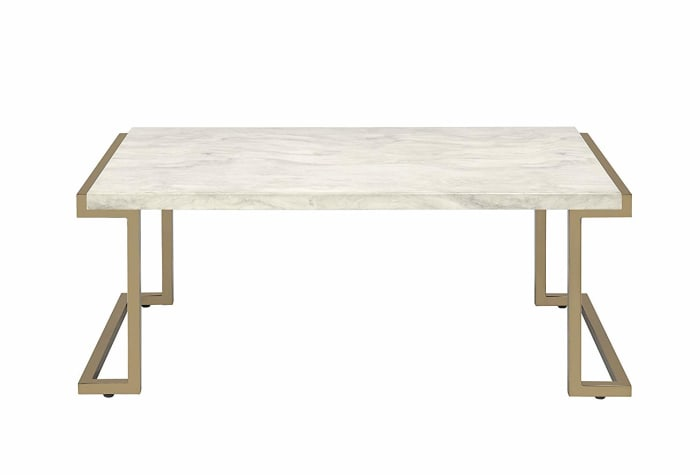 Rectangular Faux Marble Top Coffee Table With Metal Base, White And Gold