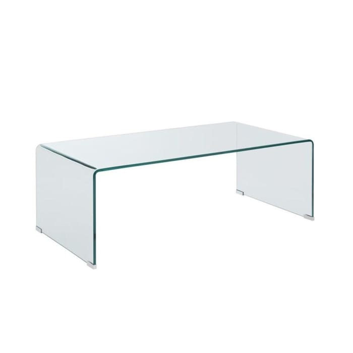 Contemporary Style Minimal Clear Glass Coffee Table, Clear